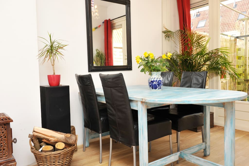Dining table with leather seats