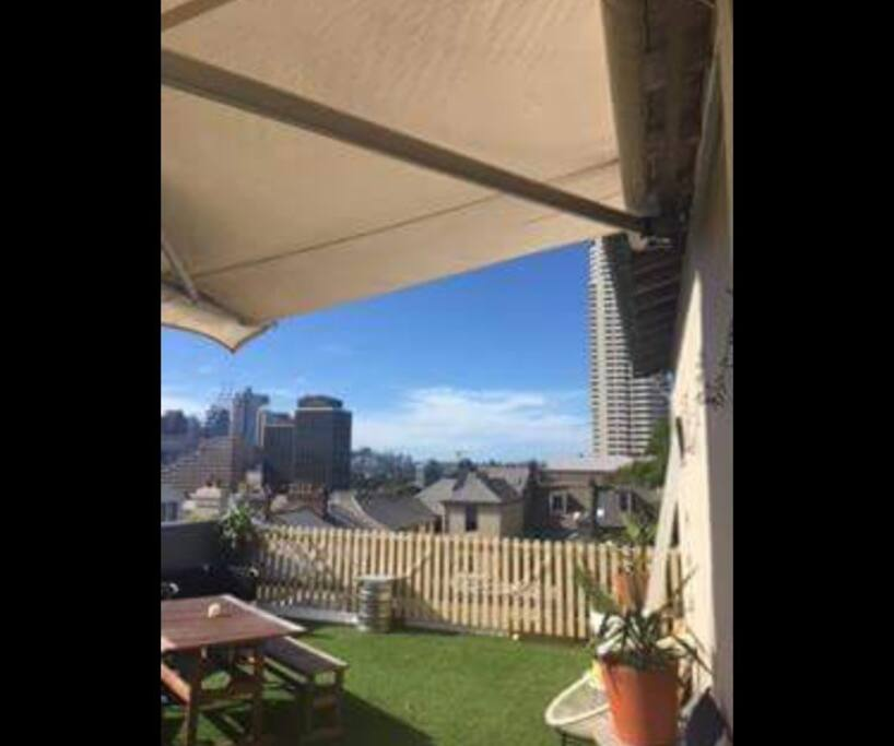 Huge private outdoor area with views over to the harbour bridge and Sydney CBD