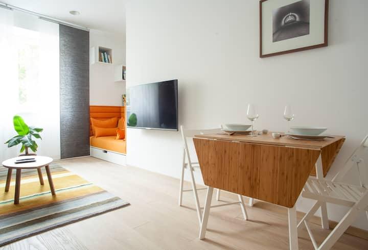 Modern apartment in a hip neighborhood