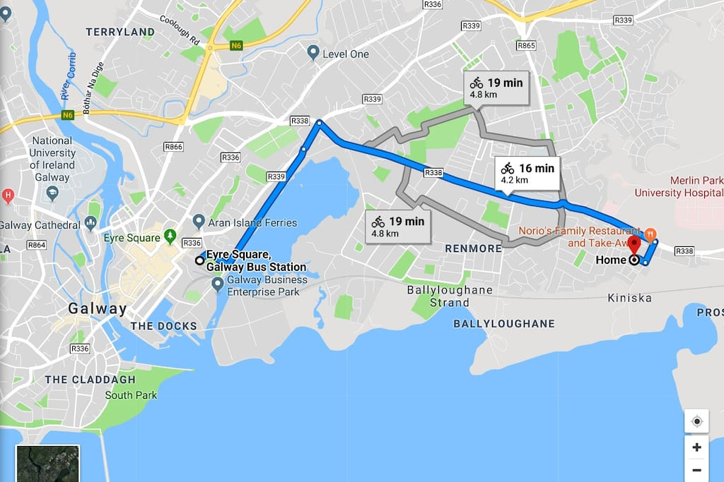 Directions from Eyre Square  (Train/Bus Station, 2 min.to Coach Station), to our OM Sweet Home :). Bus Services & Stops (8-12 min.): 402 (>Merlin Park - Tara Merlin Park),  404 (>Oranmore - Galway Crystal),  409 (>Parkmore Ind. - Galway Crystal).