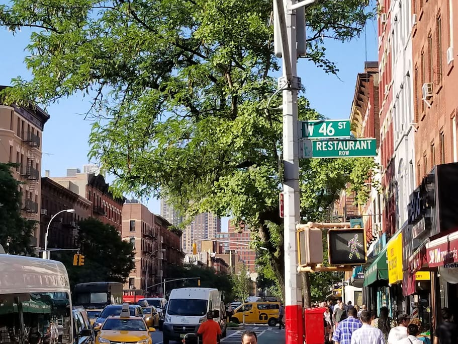 Just few blocks from world famous Restarant Row, beside that there are plenty if restaurants literally on every corner!