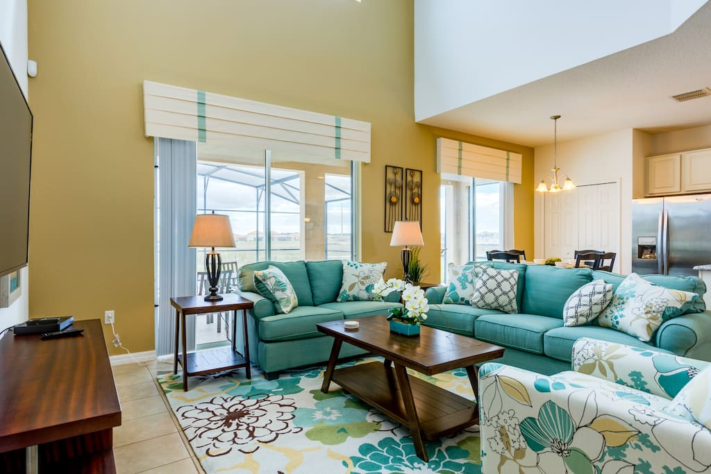 Family Lounge with TV - Over looking pool deck