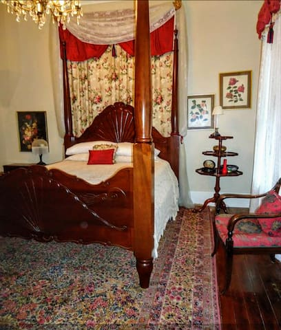 Downstairs Opal Room with a Queen size bed plus Private Bath, Cable TV & WIFI.  Full Southern breakfast included.  $99 per night plus 9% local hotel tax.