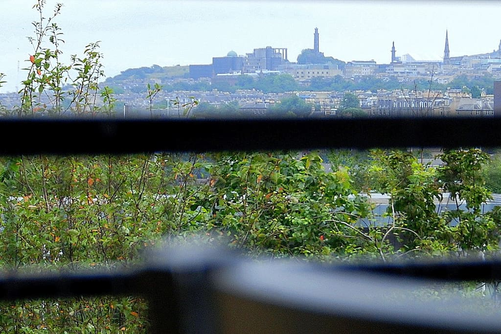 View from dining chair towards the Castle and Calton Hill Monuments