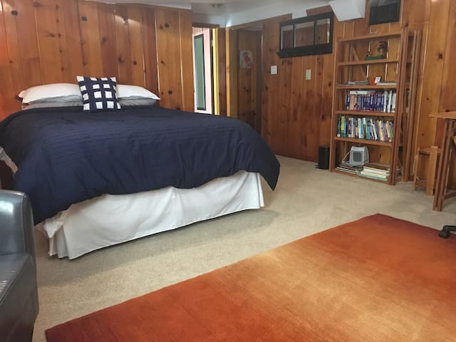 Comfy queen  pillow top bed.