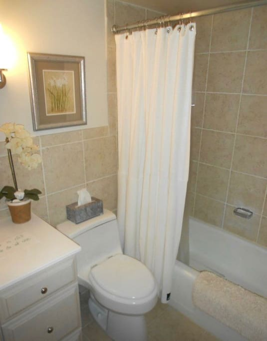Remodeled bathroom. All tile.
