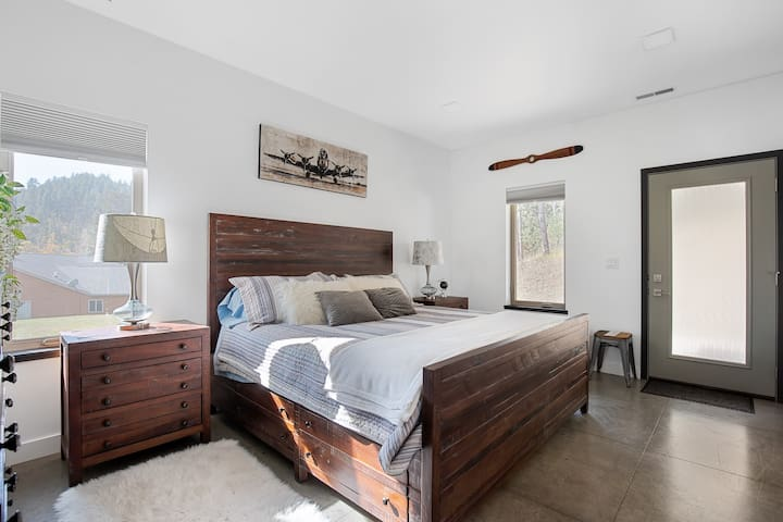 king size amazement. check out this aviation-inspired master bedroom that has everything needed to either relax you or inspire you.