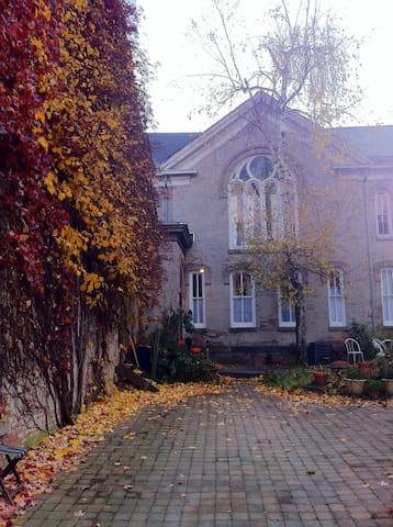 The front of the church in late fall.