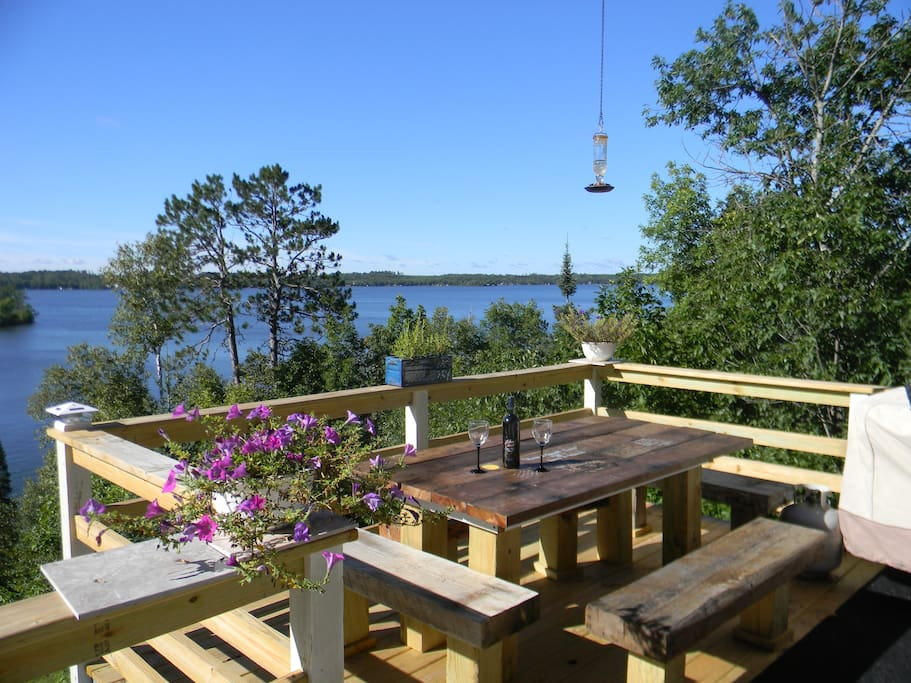 Outdoor dining on top deck with great views