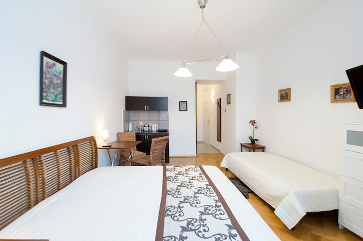Bedroom ( bed, sofa-bed,  table, chairs)
