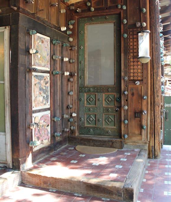 Custom designed front door,  9' tall.