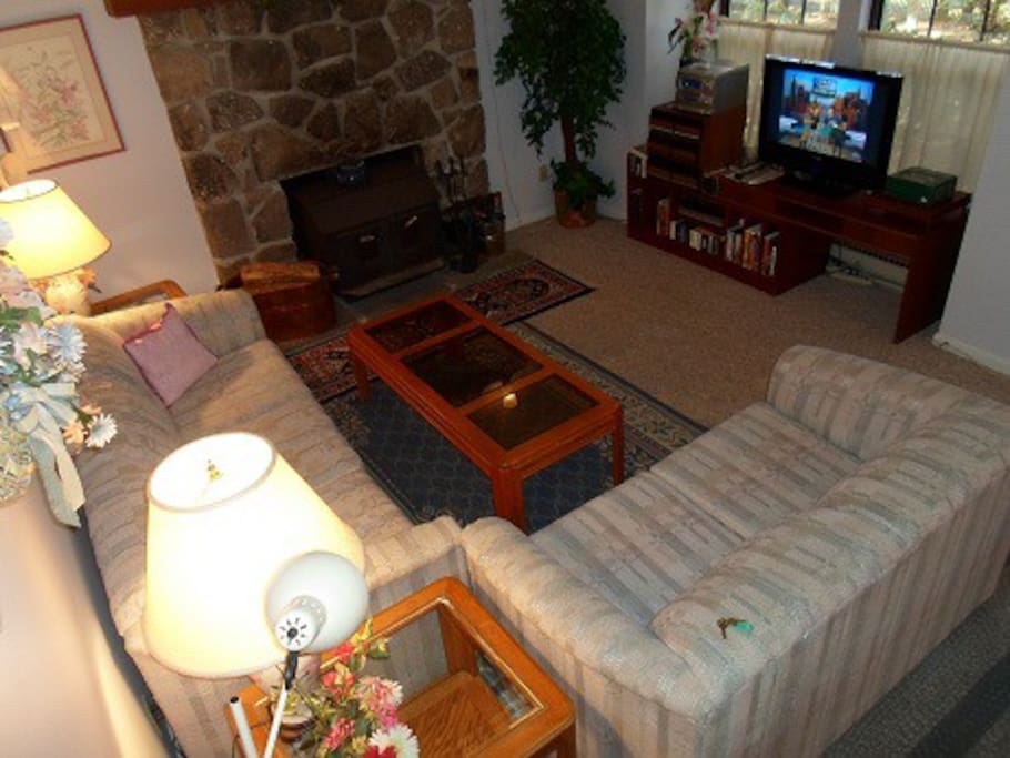 Living Room with woodstove, TV, internet