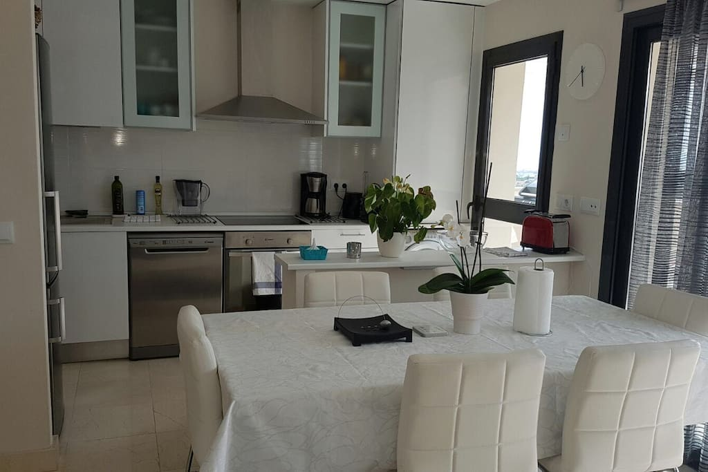 The apartment has fully equipped kitchen with washing machine, dishwasher, fridge-freezer, oven and a stove.