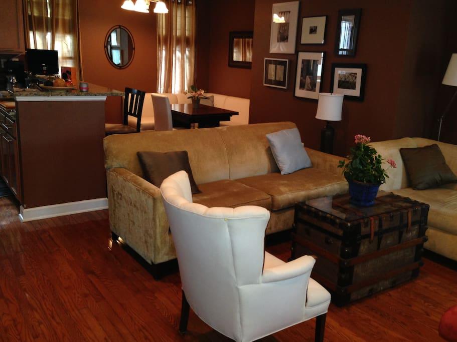 Living room, dining room and kitchen - open floor plan