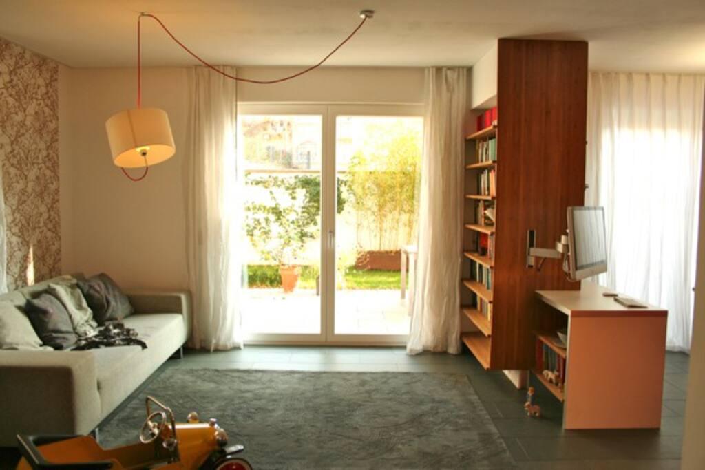living room, garden view