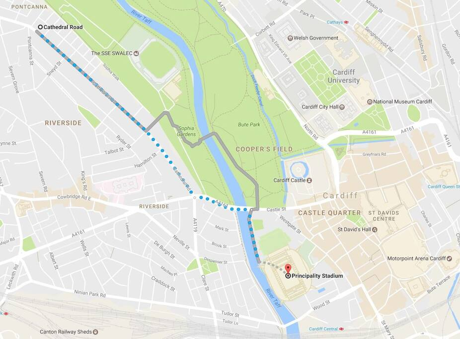 Walk to National Stadium of Wales (Principality Stadium) is less than 30 minutes