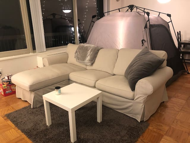 Living room with soft sofa to chill