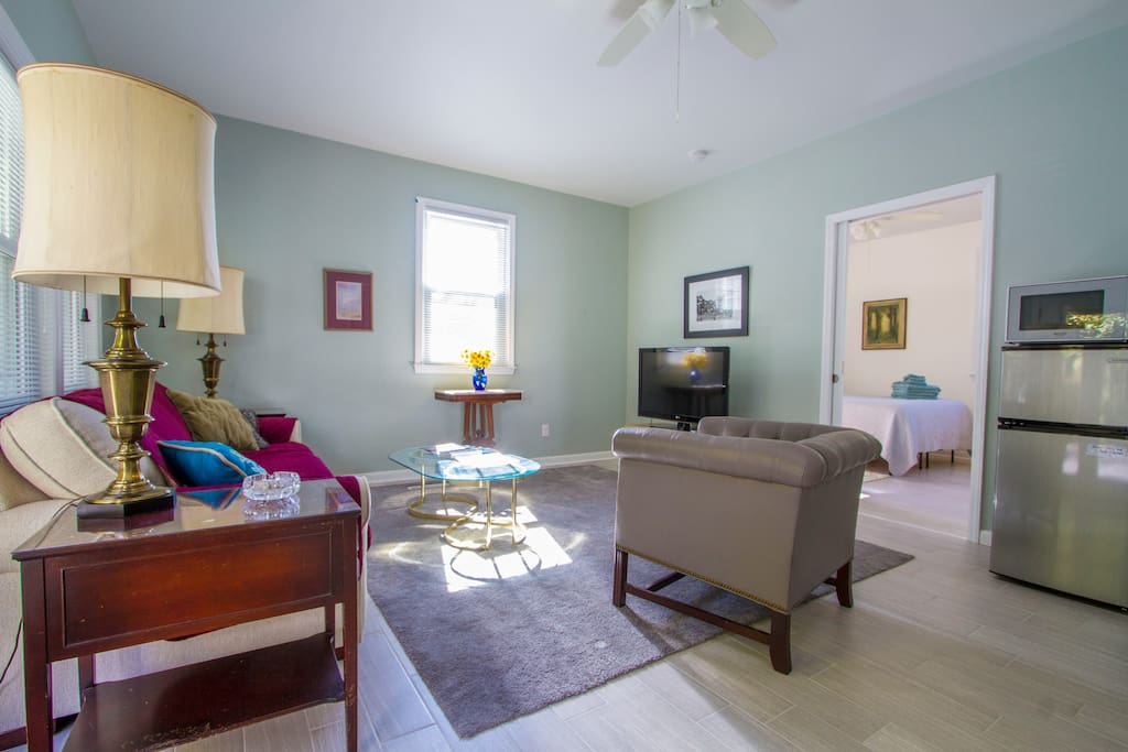 Your own private condo, separate living space. Spacious living area. Privacy pocket doors between rooms.  40 inch TV. High Speed internet.  This is a main floor condo. Not a basement! Bright, sunny, dry and inspiring. High ceilings add to charm.