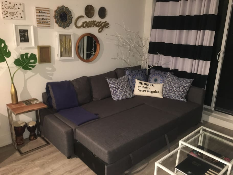 Pullout couch sleeps 2 additional people