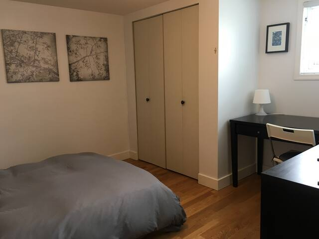 Bedroom one- double bed and work/desk space