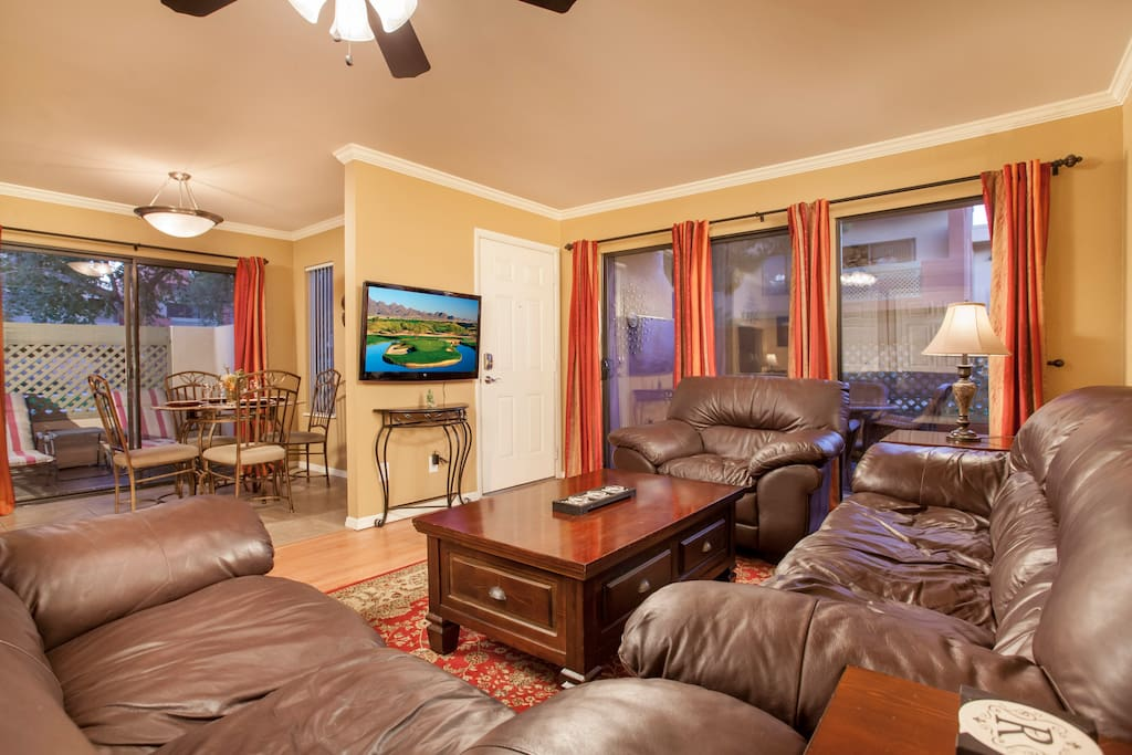 Living Room with large wall-mounted TV
