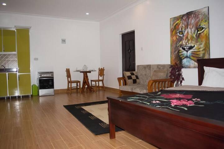 Comforts of home, upscale service! ! Kampala retreat + full kitchen + wifi