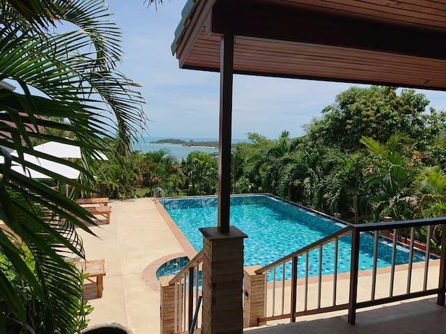 Villa 4BR private pool sunset seaview near beaches