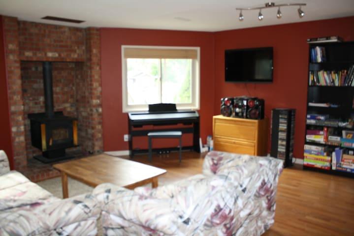 Lower floor family room.