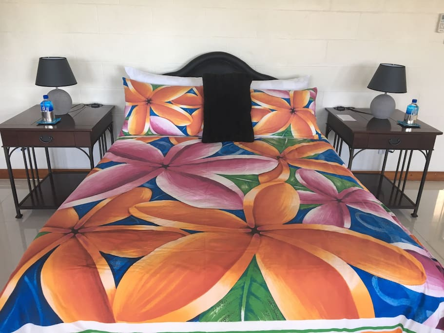 A very comfortable double bed with the most softest pillows - 2 queen size pillows and 2 single pillows