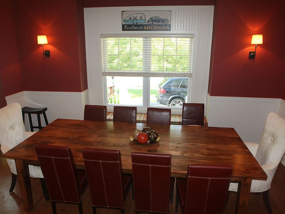 Large dining table, seats up to 12