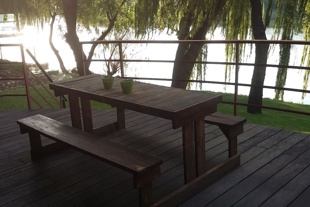 The Loft patio overlooking the river