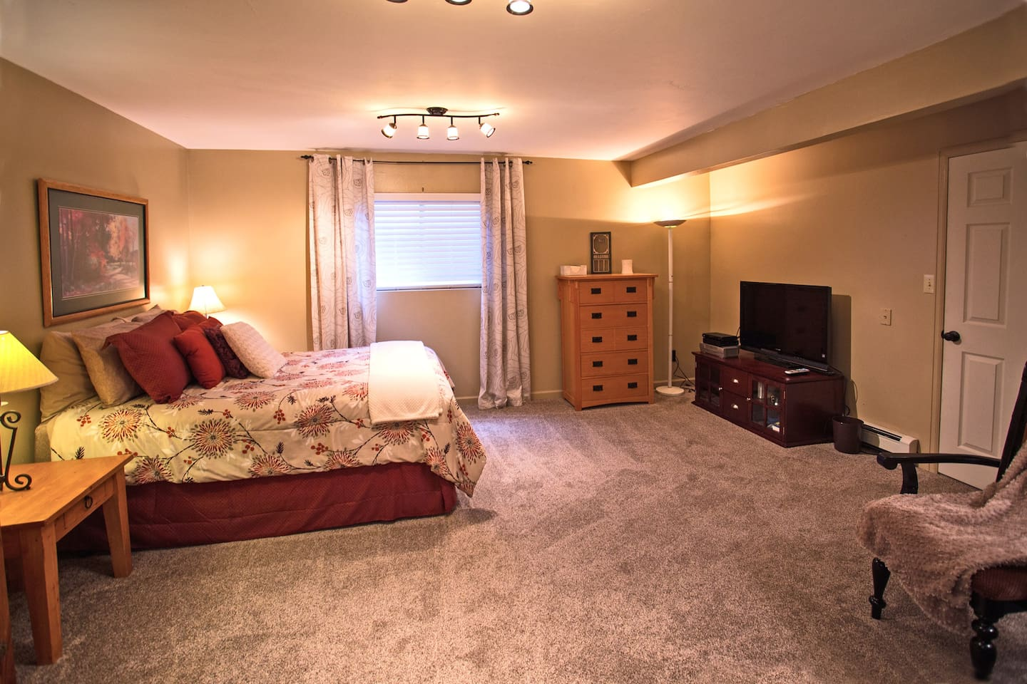 Very large room with cable television and seating