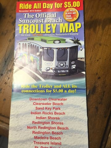 Trolley schedule in the unit.