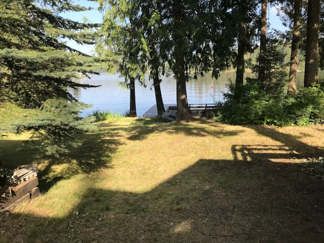 Back yard gently sloping to the lake