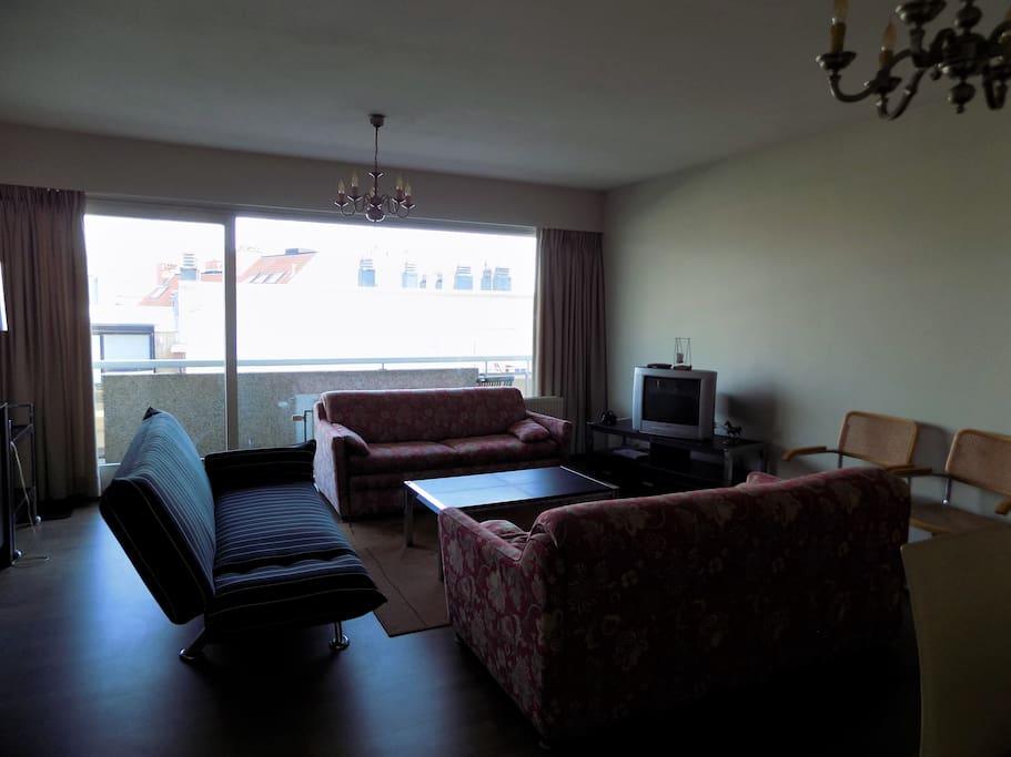 leefruimte voorzien van 2 zetels (met opklapbed), tv, voldoende stoelen, radio, zonnig terras,..