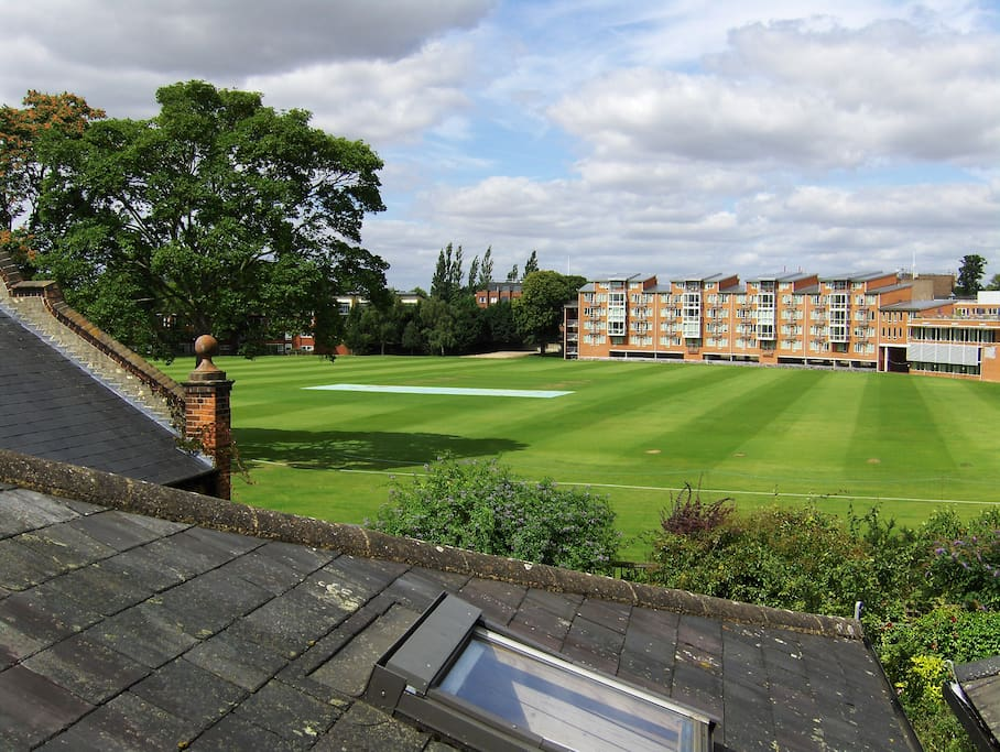 View from bedroom of University cricket ground