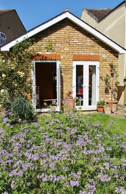 South-facing view of the studio from hosts' garden (not part of your rental, but you can open your double doors for ventilation and watch the bees and butterflies buzz about)