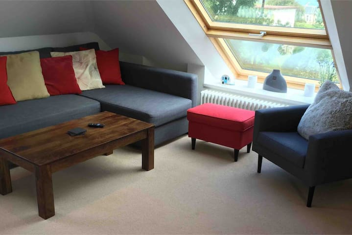 Open plan lounge area. Double sofa bed.