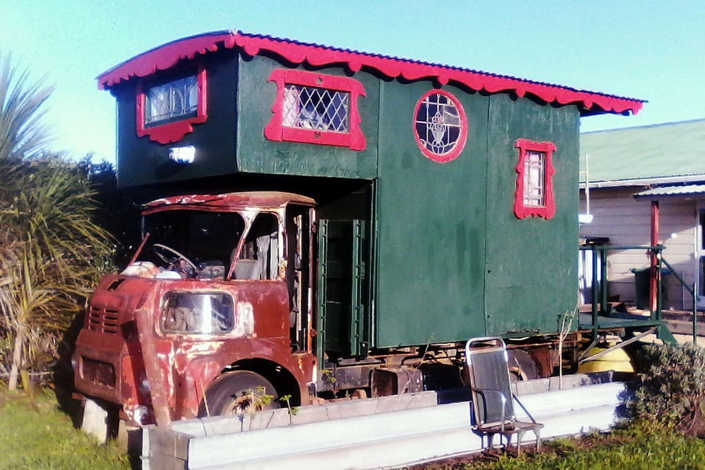 Gypsy Caravan (showing distance to the kitchen and bathroom in background)
