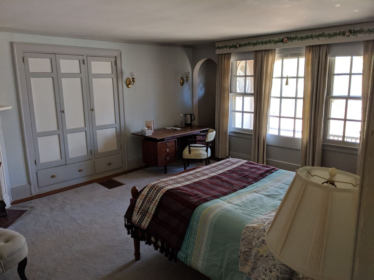 Large room with hand-painted wall murals, full bed, desk, two chairs, bookshelf and en-suite bathroom.