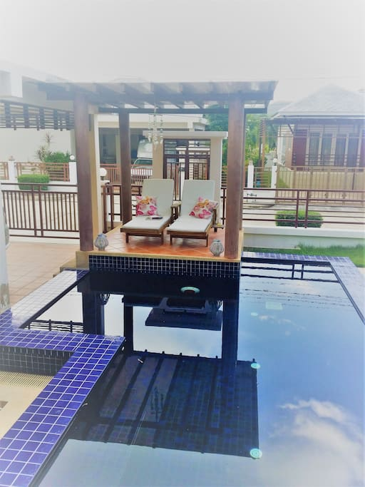 Pool with covered relax area