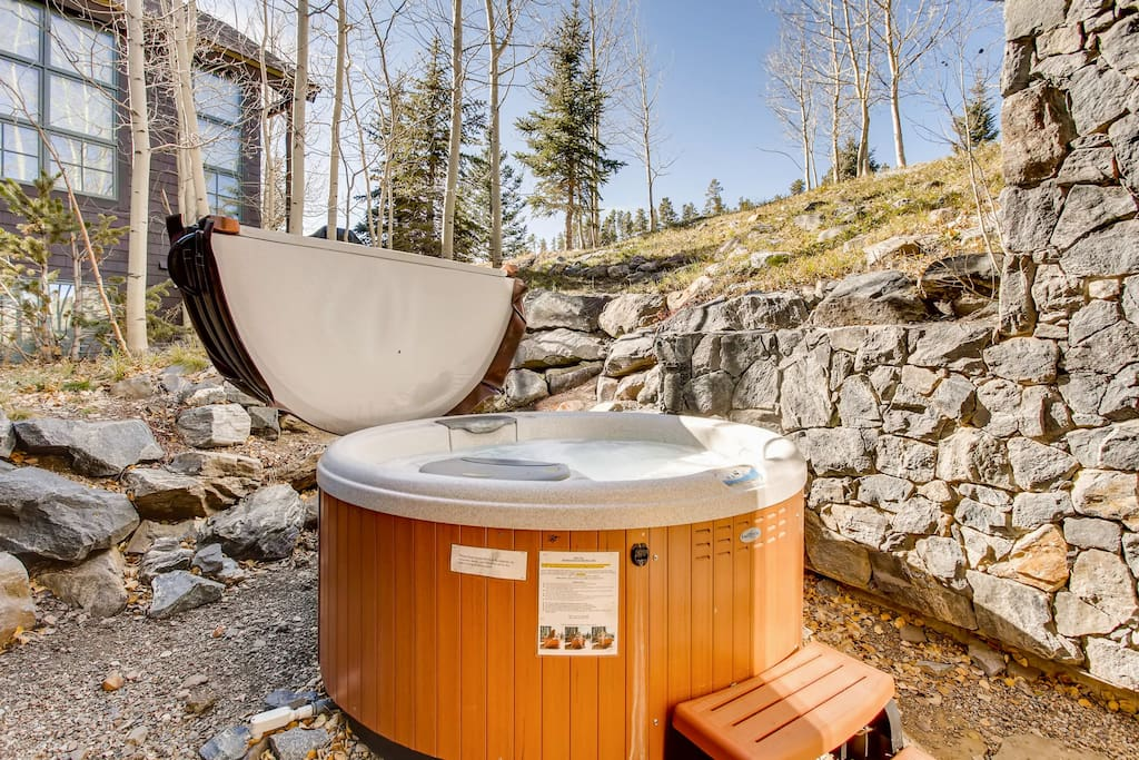 Enjoy a soak in your private hot tub - located off the 3rd bedroom.
