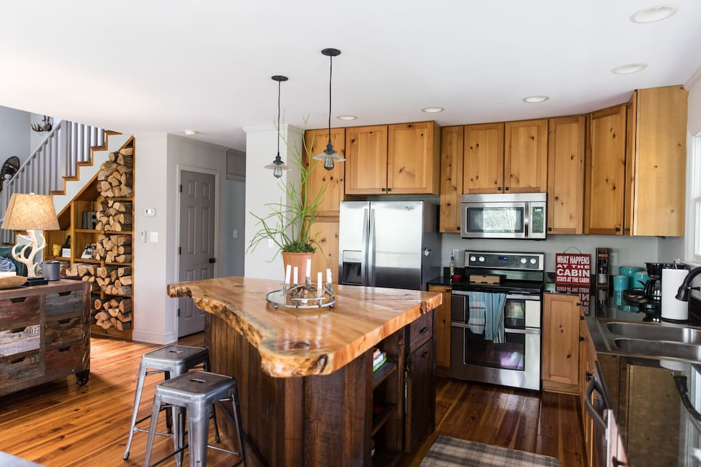 Fully stocked kitchen.  Large island perfect for gathering.