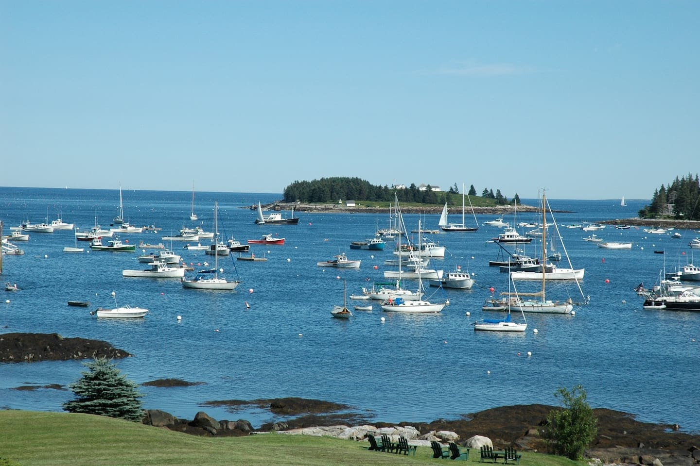 The most beautiful view in Maine!  View from our decks and rooms at The Tides!