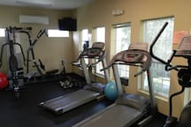On-site fitness center with everything you need to stay up on your daily workout.