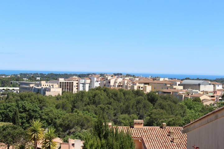 Duplex 3 chambres, terrasse, vue mer et montagnes