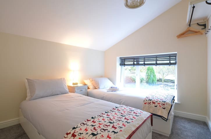 Twin bedroom with lovely views
