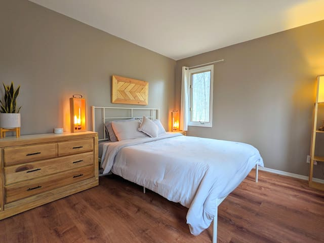 First floor Queen sized bedroom with HVAC, custom closet and double exposure