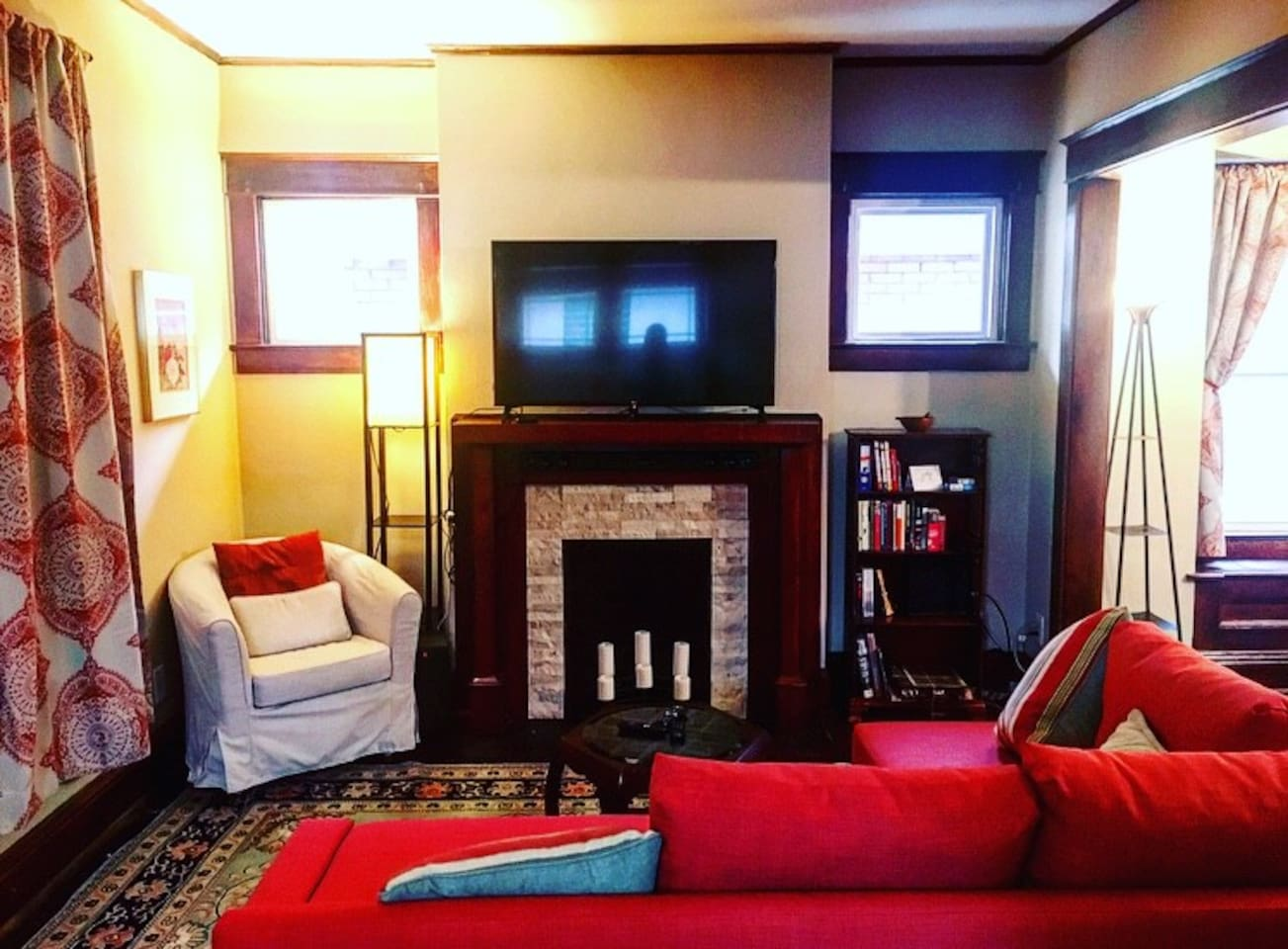 Living room with Bluetooth soundbar for your music, and Netflix on the TV.