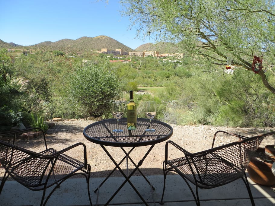 Enjoy a glass of wine or morning coffee with nature. View Tucson Mountains, Roadrunner Golf Course, JW Marriott Five Star Hotel